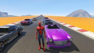 ????️Spiderman Drives Classic Fast Sports Cars????️ - Kids Songs for Children????????????
