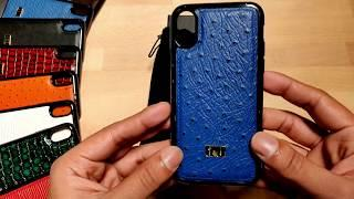 iPhone X Gold Black - Leather Ostrich Luxury Royal Blue Case