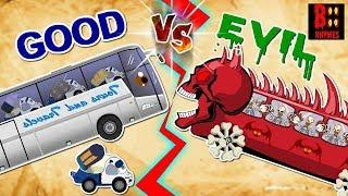 Evil Vs Good Luxury Bus - Scary Street Vehicle - Police Car, Ice Cream Van, Fire Truck, Cement Mixer