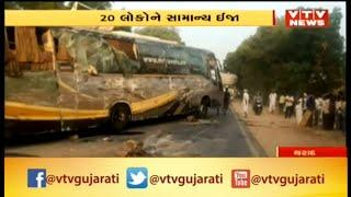 Banaskantha: Speeding Luxury Bus Topples on Tharad Highway, 2 Severely Injured | Vtv News