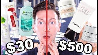 $500 vs $30 Skincare Routine | Luxury & Drugstore Skin Care BATTLE