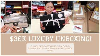 $30K LUXURY UNBOXING! CHANEL, DIOR, SAINT LAURENT, VALENTINO, VERSACE, BALENCIAGA & MORE