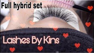 EYELASH EXTENSION FULL HYBRID TUTORIAL USING LASHES BY KINS LUXURY LASHES