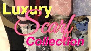 My LUXURY SCARF Collection ????????????!! Burberry, LV, Gucci, Versace, Moschino & more :)