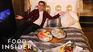 Luxury Seafood Banquet Is Served In A Four-Poster Gold Bed