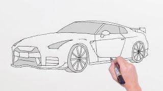 How to Draw Nissan GTR Sports Luxury Car - Easy Drawing Cars - Basit Nissan GTR Spor Araba Çizimi