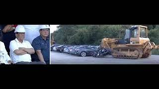 PRESIDENT OF PHILLIPINES WATCHES CRUSHING OF 5,6§ MILLION WORTH LUXURY CARS!!