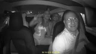 3 Hot Girls Partying in an Tesla Model 3 Uber