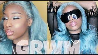 CHIT CHAT GRWM: WATCH ME SLAY THIS BABY BLUE WIG + MATCHING EYES ( I tried lol ) ft. HJ WEAVE BEAUTY