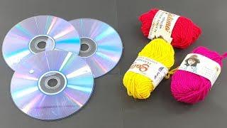 Best out of waste cd disc | Recycling cd disc craft with Color woolen | Waste cd disc reuse idea