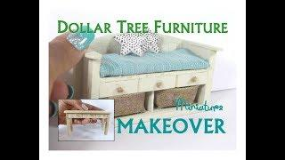 Dollar Tree to Luxury Miniature Furniture Makeover DIY Coastal Bench