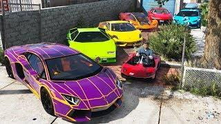 GTA 5 - Stealing Luxury Lamborghini Cars with Franklin! (Expensive Real Cars #05)