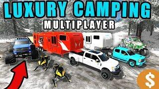 LUXURY CAMPING IN WINTER! W/ MONSTER TRUCKS & SNOWMOBILES | MULTIPLAYER