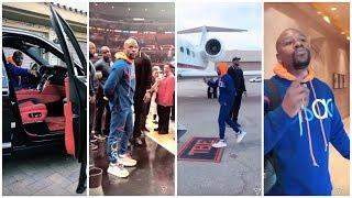 A day in the life of Floyd Mayweather from luxury Cars to private Jet to Court side NBA game HD