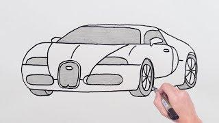 How to Draw Bugatti Sports Luxury Car - Easy Drawing Cars - Basit BUGATTİ Spor Araba Çizimi