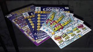 UK SCRATCH CARDS - LUXURY LINE, 2× £300,000 DARK BLUE, 3× CASH BLAST