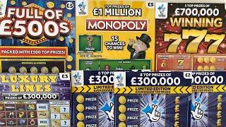 Video 123 - Full Of 500's, Monopoly, Winning 777's, Luxury Lines... Scratchcards????