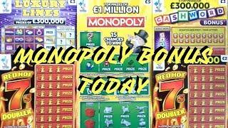 UK SCRATCHCARDS!!! ????£1 MIll MONOPOLY-CASHWORD BONUS,LUXURY LINES - RED HOT 7's DOUBLER ????#27