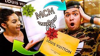Buying Each Other LUXURY Christmas Presents Challenge!!