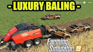 Farming Simulator 19 [ LUXURY CAR BALING & LAMBORGHINI AVENTADOR SPEED TEST ]