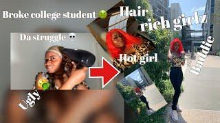 broke college student to rich baddie TRANSFORMATIONS! + school vlog|ft Lux hair
