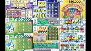 UK SCRATCHCARDS!!! £20,000 JACKPOT - LUXURY LINES - INSTANT £100 - MONEY SPINNER - 7 x £1 CARDS  #19