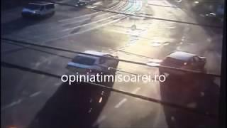 Momentul impactului in intersectia Rebreanu cu Brancoveanu la Timisoara