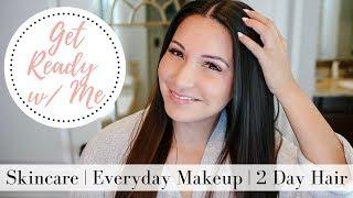 MORNING SKINCARE + EVERYDAY MAKEUP + TWO DAY HAIR - Get Ready with Me   LuxMommy