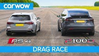 Audi RS4 vs Tesla Model X P100D - DRAG RACE, ROLLING RACE & BRAKE TEST