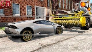 Stump Grinder VS Luxury Sport Cars (destruction of supercars) BeamNG Drive