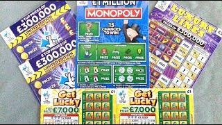 UK SCRATCHCARDS!!! £1 MILL MONOPOLY - LUXURY LINES - LIMITED EDITION x 2 - LUCKY LINES x2 #8
