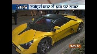 Speeding luxury car gets damaged after hitting the lampost near JLN stadium in Delhi