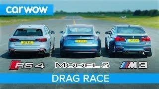 Tesla Model 3 vs BMW M3 vs Audi RS4 - DRAG RACE, ROLLING RACE & BRAKE TEST