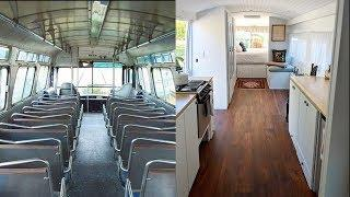 Woman renovates a Greyhound bus into a chic tiny home that is now for sale