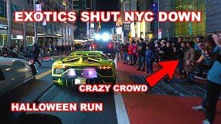 EXOTIC CARS TAKE OVER TIME SQUARE DURING HALLOWEEN *SV/SVJ HEAVEN*