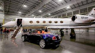 INSANE Luxury Supercar Party Inside a Private Jet Plane Hangar