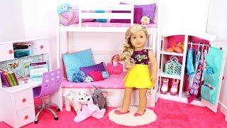 Doll Bunk Bed Bedroom & Wardrobe Closet! Play Dress Up Baby Dolls Morning Routine