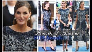 QUEEN LETIZIA STUNS IN PRICELESS SILVER LUXURY GOWN & DIAMOND EARRINGS AT PRINCESS OF ASTURIAS AWARD