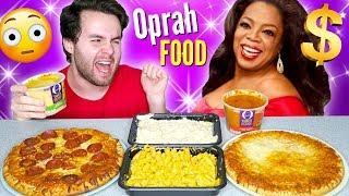 TRYING OPRAH'S LUXURY FROZEN FOOD! - Pizza, Mac N' Cheese, and MORE Taste Test!