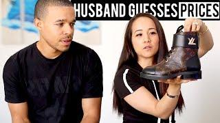 HUSBAND GUESSES LUXURY HANDBAG & SHOE PRICES CHALLENGE | Gucci, Chanel, Prada, YSL, Louis Vuitton!