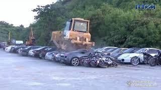 Philippines  luxury cars destroyed in anti-corruption drive