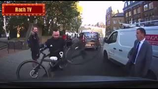 Angry Cyclist uses his bike to damage Mercedes limousine