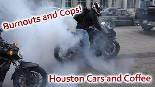 BURNOUTS, COPS, AND LOUD EXITS! Houston Coffee and Cars Feb. 2019 [4K]