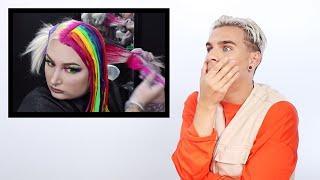 Hairdresser Reacts To Rainbow Hair