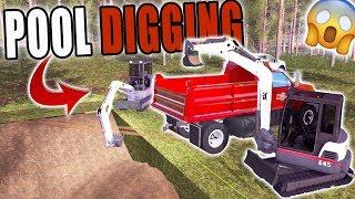 EXCAVATING OUT LUXURY POOL WITH MINI BOBCAT EXCAVATOR | FARMING SIMULATOR 2017