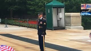 Tomb of Unknown Soldier, Memorial Day 2018, Arlington National Cemetery, 21 Gun Salute, Trump Wreath