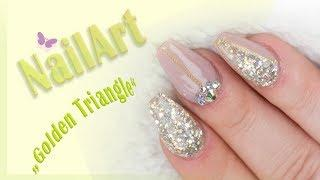 "Nailart: ""Golden Triangle"" mit dem Jolifin LAVENI Luxury Glitter - champagne"