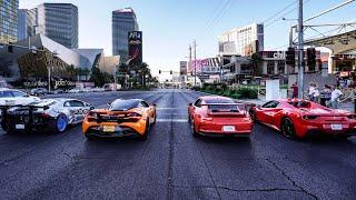 WORLD'S GREATEST DRAG RACE! EXOTIC RENTAL CARS LAUNCH DOWN LAS VEGAS BLVD! *LAMBORGHINI NEAR CRASH*