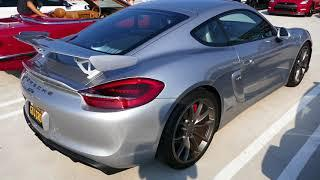 Awesome Bright Silver Porsche Cayman GT4 Sports Car - South OC Cars & Coffee, San Clemente, CA