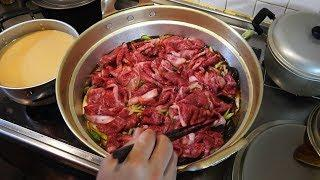 【高級和牛(半額)すき焼きうどん】メッチャいっぱい料理作るぞ!【Luxury Wagyu beef (half price) sukiyaki udon.】